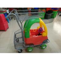 Cheap Hand Push Plastic Kids Shopping Carts With Castors , Movable Store Wire Mesh Basket Trolley for sale