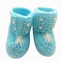 Cheap Baby Crochet Shoes, Suitable for 3 to 9 Months Age, Nontoxic and Eco-friendly for sale