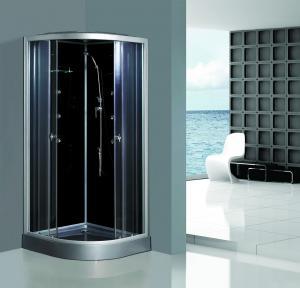 Cheap Enclosed Framed Shower Glass Doors , Custom Glass Shower Walls Black Back for sale
