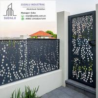 Cheap SUDALU Laser Cut Powder Coated Aluminum Exterior Villa Fence and Gate Panel for sale