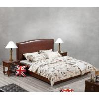 Cheap Glassic design of Leisure Bedroom Furniture Upholstered Headboard Bed by True Leather with High density Sponge covered for sale