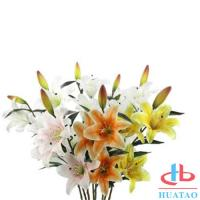 Cheap Single 3 Heads Lily Flowers Waterproof Artificial Flowers For Wedding for sale
