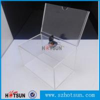 Cheap Custom box Plexiglass acrylic donation/tips/sugguestion box with sign holder for sale
