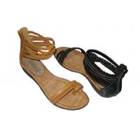 China Wholesale Fashion Comfortable PU Camle / Black Ladies Flat Sandals for Spring / Summer on sale