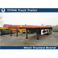 Cheap Tri - axle 40foot 45foot extendable Flatbed Semi Trailer for shipping container for sale