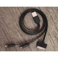 Cheap Black Data Flat Micro USB Charger Cable 3 in 1 20cm - 50cm for iPhone wholesale