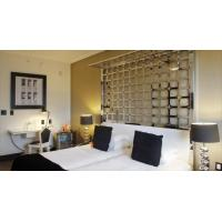 Timor-Leste Light luxury hotel furniture of Stainless steel headboard bed with leather pad and Leisure chairs with table