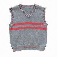 Cheap Fashionable V-neck knitted baby sweater/vest, made of 100% cotton for sale