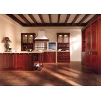 Custom Red Solid Wood Kitchen Cabinets , French Country Kitchen Cabinets