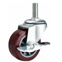 Cheap 2 screw PU caster red with brake, threaded stem caster, PU castors, light duty caster, swivel casters for sale