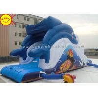 Cheap Outdoor Dolphin Inflatable Water Slide Blue Dolphin Waterpark Slide for Adults and Kids for sale