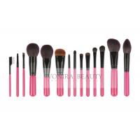 Cheap 14 PCS Pink Deluxe CosmeticMakeup Brush Collection With Exquisite Nature Bristles for sale