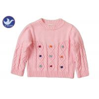 Long Sleeves Girls Cable Knit JumperCrew Neck Pullover Style Anti - Pilling