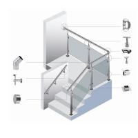 Cheap Safe Durable Silver Stainless Steel Stair Handrail Easy To Install for sale
