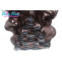 Cheap 100% Unprocessed Body Wave Clip In Human Hair Purple / Wine Red Hair Extensions for sale