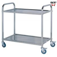 Cheap Stainless Steel Serving Cart with Square Tubes, Wheels,Two Layers for sale