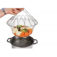 China 12 Inch Stainless Steel Fryer Basket , Mini Folding Round Deep Fryer Basket on sale