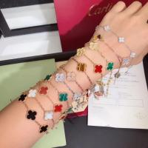 Cheap Charming 18K Gold Van Cleef Jewelry , Vintage Alhambra Bracelet 5 Motifs van cleef copy jewelry for sale