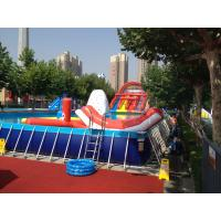 Cheap Commercial Metal Frame Pool Red Water Slide Pool With Floating Toys for sale