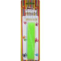 Buy cheap Tall Slender Glitter Birthday Candles 10 White Holders Fluorescent Green from wholesalers