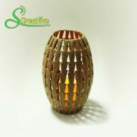 Cheap Coffee Color Led Rattan Solar Garden Lights Wicker Candle Lantern Energy Efficient for sale