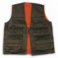 Cheap Safety Vest with Zipper and Button, Made of Polyester and Cotton for sale