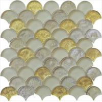 Cheap Gold leaf with silver color series water waving glass mosaic wholesale