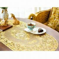 China Vinyl Golden/Silver Crochet Lace Placemat, Easy to Care on sale