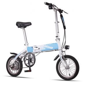 Blue Foldable Electric Bike Adult City Electric Push Bike With Li - Ion Battery
