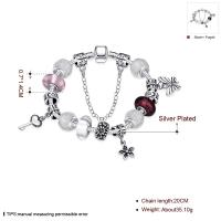 China SJ Fascinating Jewelry Silver Plating Handcrafted Glaze Bead Charm with Key Petal Butterfly Chain Women Bead Bracelet on sale