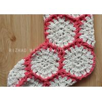 Cheap Hexagon Knitted Christmas Tree Ornaments White And Red Crochet Christmas Stockings for sale