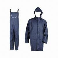 Cheap Adult PU Raincoat, 5000mm WP, Made of 50% PU and 50% Polyester for sale