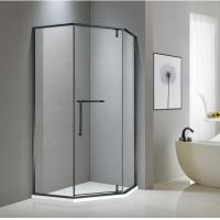 China Neo-angle matt black stainless steel shower enclosure 900*900 with one hinge door and two fixed panels on sale