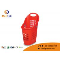 China Plastic Picnic Hand Held Shopping Baskets Custom Printed Logo With Castor on sale
