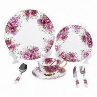 Cheap 8pcs Fine Bone China Dinnerware Set/Tableware with Elegant Decal, Supports Small Orders for sale