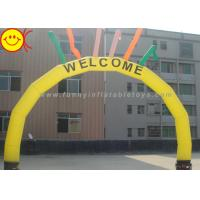 Cheap PVC / Nylon Yellow Welcome Inflatable Arch With Six Colorful Sky Air Dancers for sale