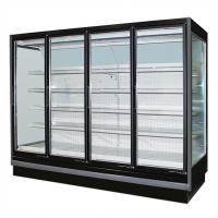 Cheap 3.75M Vertical Remote Multideck Fridge , Commercial Glass Door Refrigerator for sale