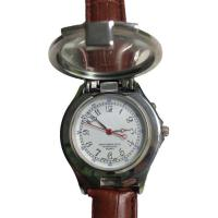 Magnifying Glass Unisex Leather Band Quartz Watch with Counterfeit Money Detector Light