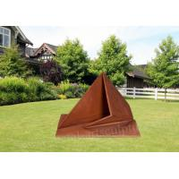 Cheap Triangle Garden Corten Steel Sculpture With Rusty Surface OEM And ODM Design for sale