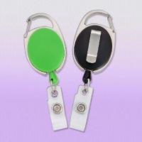 Cheap Premium Carabiner Style Badge Reels with Slide Clip Back for sale