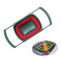 Cheap Pot Use Eco-friendly Clip on Snap Water Collapsible Silicone Rubber Pasta Microwave Kitchenware Set Foldable Colander Strainer for sale