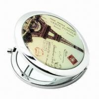 Cheap Fashionable Pocket Mirror, Comes with Metal Case and Round Shape, Customized Logos are Accepted for sale
