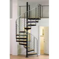 Cheap Interior duplex wooden spiral staircase with inox steel rod railing design for sale
