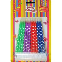 Cheap 24 Holder OEM Spiral Birthday Candles Dots Paraffin Wax For Baby Party for sale