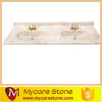China wholesale cheap price double sink cultured marble bathroom vanity tops high qulity for sale on sale