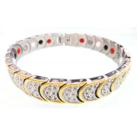 China Mens Stainless Steel Magnetic Bracelets With 4 IN 1 BIO Energy Germanium Elements on sale
