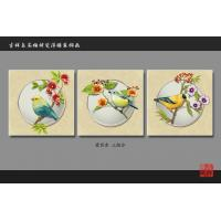 Cheap Water Resistant Faux Tile Wall Panels Art Painting Bird Flowers Pattern for sale