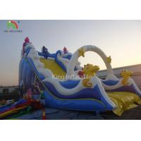 Cheap PVC Tarpaulin Blue Color Inflatable Bouncer Kids Favorite Slide Playground Theme Park For Rental for sale