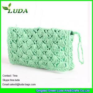 Cheap light green lady clutch bag  paper straw crochet handbags for sale