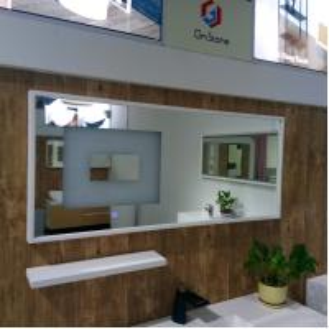 China Stone Frame Backlit Bathroom Mirror Durable Illuminated Vanity Mirror on sale